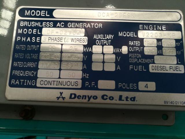 ขายเครื่องปั่นไฟเก่าญี่ปุ่น DCA-25ESI 061-4194021 ภู