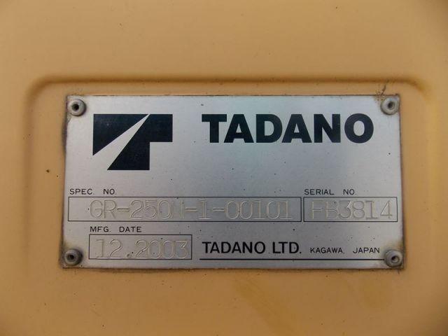 ขายรถเครนสี่ล้อ TADANO GR250N-1 นำเข้าจากญีปุ่นแท้ ราคาพิเศษ