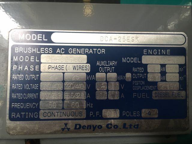 DENYO DCA-25ESK : 25KVA เครื่องปั่นไฟ นำเข้า โทร. 080-6565422 (หนิง)
